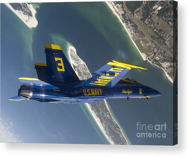 Blue Angels Acrylic Print featuring the photograph The Blue Angels Perform A Looping by Stocktrek Images
