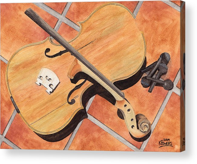 Violin Acrylic Print featuring the painting The Broken Violin by Ken Powers