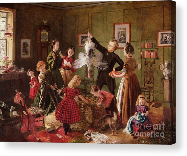 The Acrylic Print featuring the painting The Christmas Hamper by Robert Braithwaite Martineau