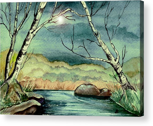 Watercolor Acrylic Print featuring the painting The Coming Storm by Brenda Owen