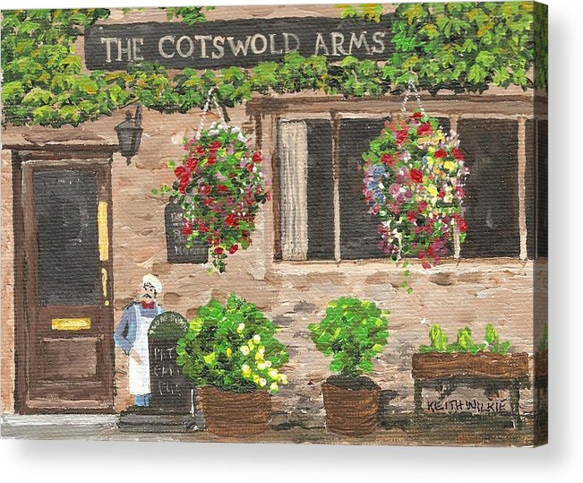 Cafe Acrylic Print featuring the painting The Cotswold Arms by Keith Wilkie