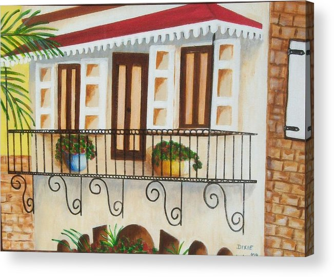 Caribbean Architecture Acrylic Print featuring the painting The Cottage by Dixie Lee Hedrington