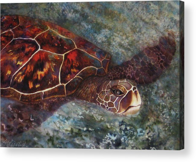 Honu Acrylic Print featuring the painting The First Honu by Kerri Ligatich