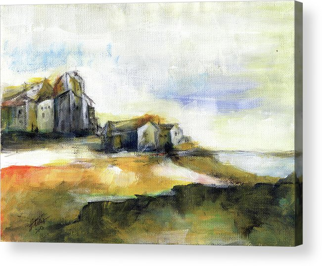 Abstract Landscape Acrylic Print featuring the painting The Fortress by Aniko Hencz