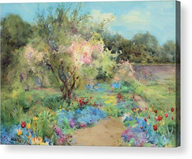 The Acrylic Print featuring the painting The Garden At Kilmurry by Butler Mildred Anne
