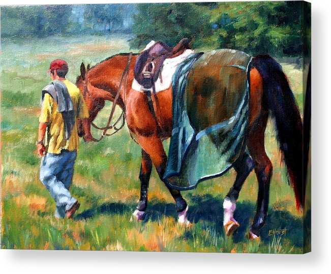 Equine Paintings Acrylic Print featuring the painting The Groom by Elaine Hurst