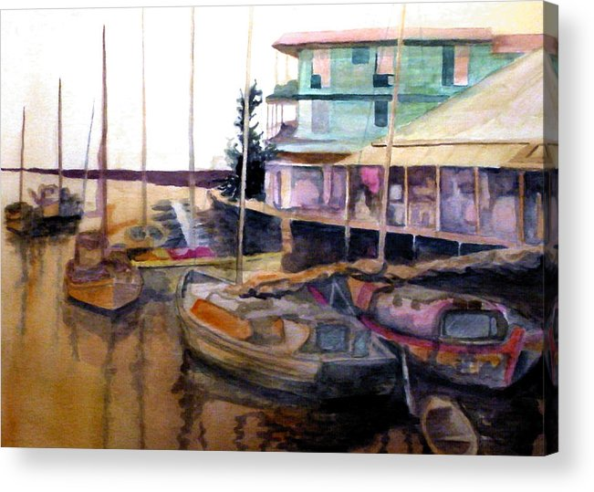 Marina Acrylic Print featuring the painting The Marina by Jim Phillips