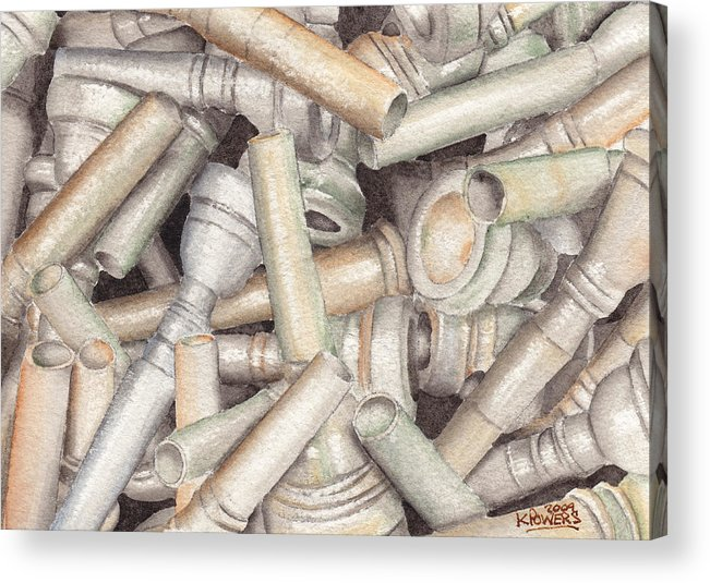 Brass Acrylic Print featuring the painting The Mouthpiece Jumble Experiment by Ken Powers