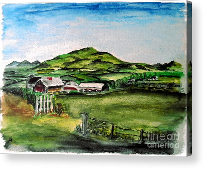 Landscape Acrylic Print featuring the painting The Old Farm by Alan Hogan