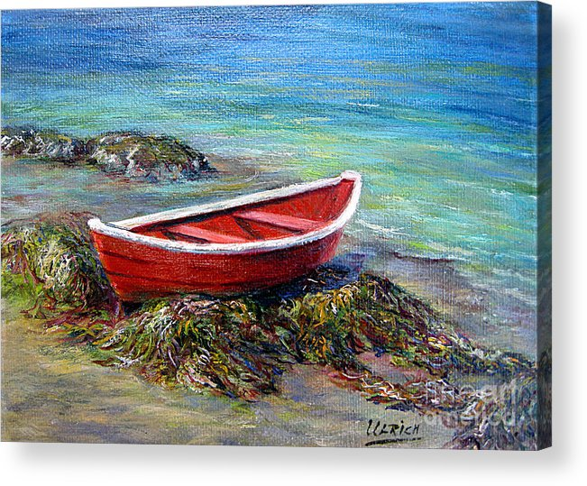 Boat Acrylic Print featuring the painting The Red Boat by Jeannette Ulrich