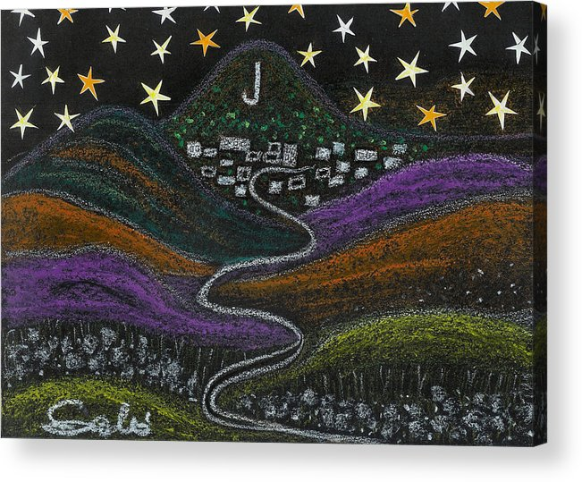 Stars Acrylic Print featuring the drawing The Road To Jerome 89a Az by Ingrid Szabo