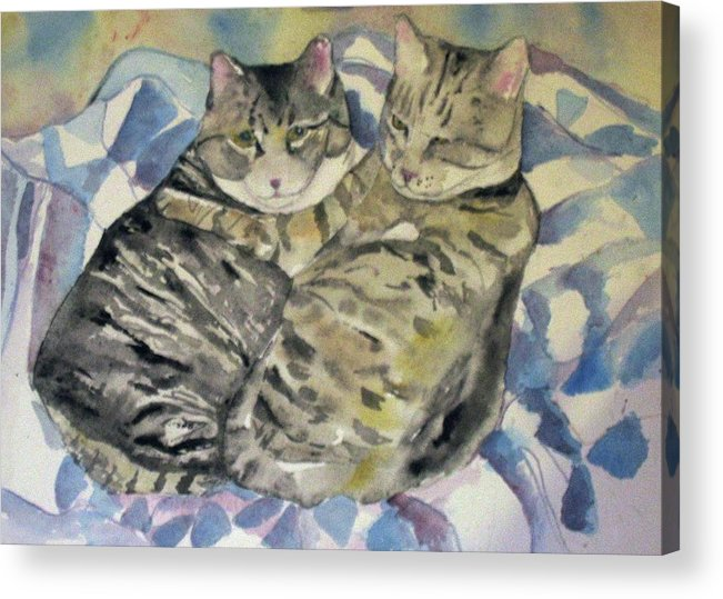 Two Cats Acrylic Print featuring the painting Theo And Franklin by Anne McMath