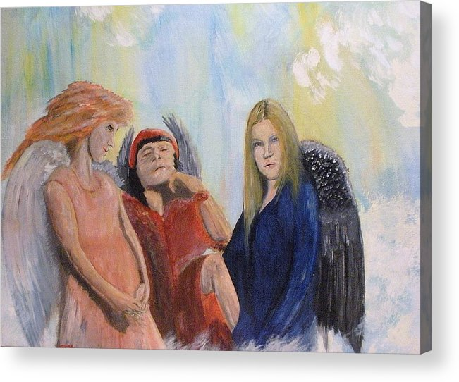 She Wonders Are They Worth It? Acrylic Print featuring the painting They Talk Of Man by J Bauer