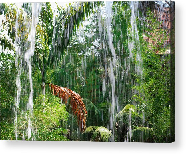 Waterfall Acrylic Print featuring the photograph Through The Waterfall by Alison Frank