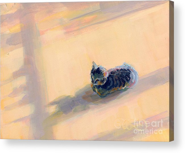 Gray Tabby Acrylic Print featuring the painting Tiny Kitten Big Dreams by Kimberly Santini