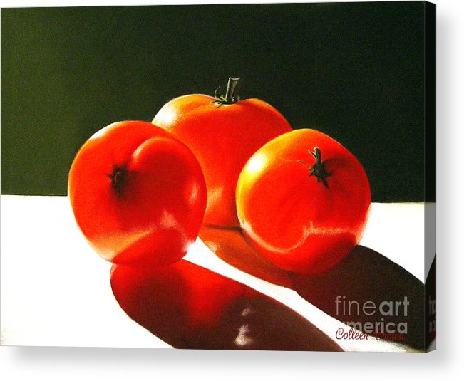 Red Acrylic Print featuring the painting Tomayta Tomato by Colleen Brown