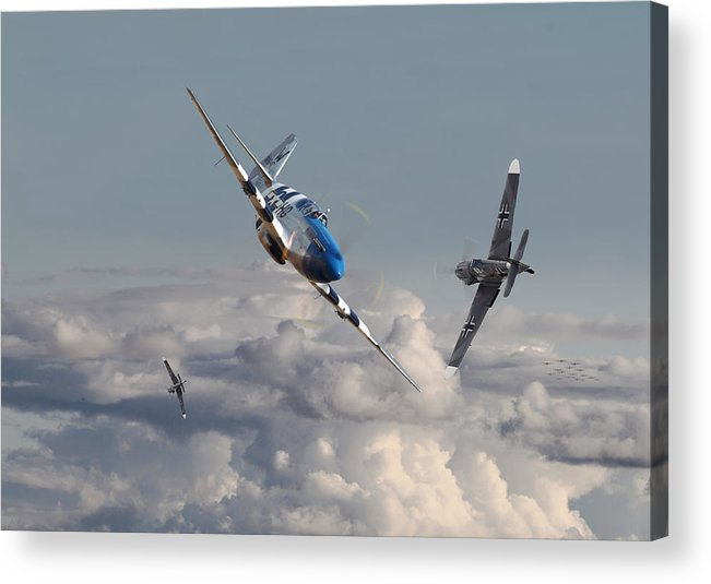 Aircraft Acrylic Print featuring the photograph Top Gun - 1944 Version - P51 V Bf109g by Pat Speirs