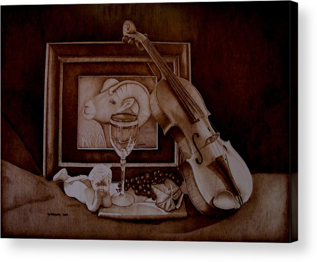 Pyrography Acrylic Print featuring the pyrography Treasures by Jo Schwartz