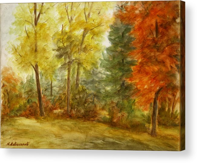 Landscape Acrylic Print featuring the painting Trees At Fall by Artemis Melissarato
