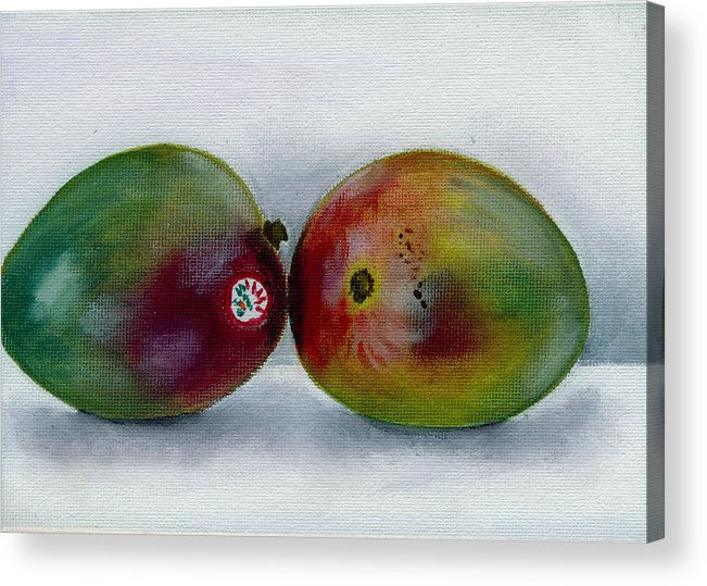 Still-life Acrylic Print featuring the painting Two Mangoes by Sarah Lynch