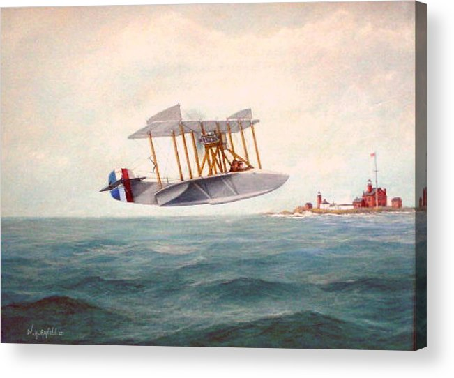 Airplane Acrylic Print featuring the painting U. S. Coast Guard - Curtiss Flying Boat by William H RaVell III
