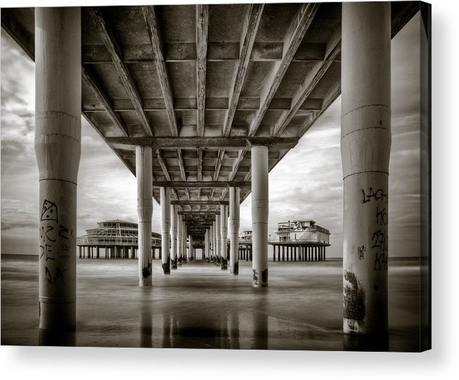 Pier Acrylic Print featuring the photograph Under The Boardwalk by Dave Bowman