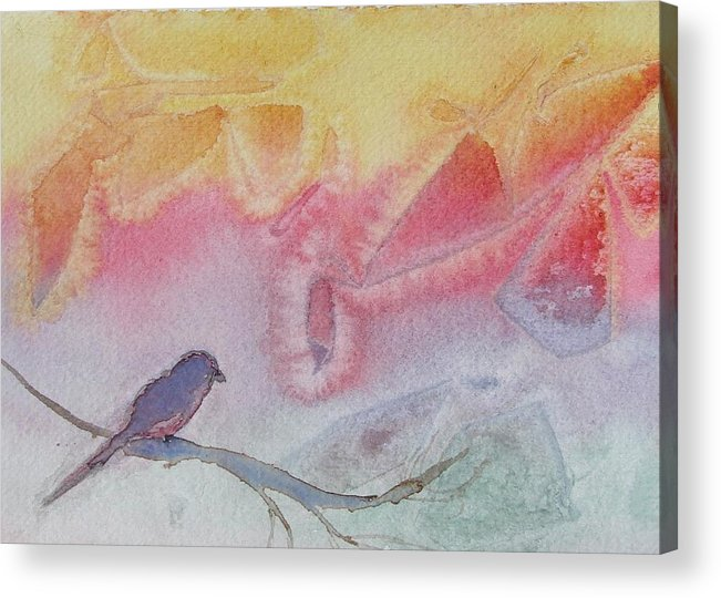 Birds Acrylic Print featuring the painting Unexpected Visitor by Dottie Briggs