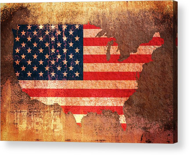 Us Flag Acrylic Print featuring the digital art Usa Star And Stripes Map by Michael Tompsett