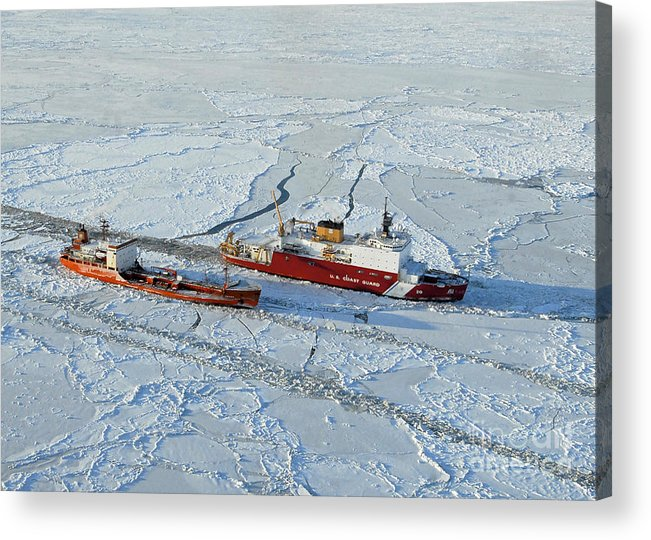 Us Coast Guard Acrylic Print featuring the photograph Uscg Healy Breaks Ice by Stocktrek Images