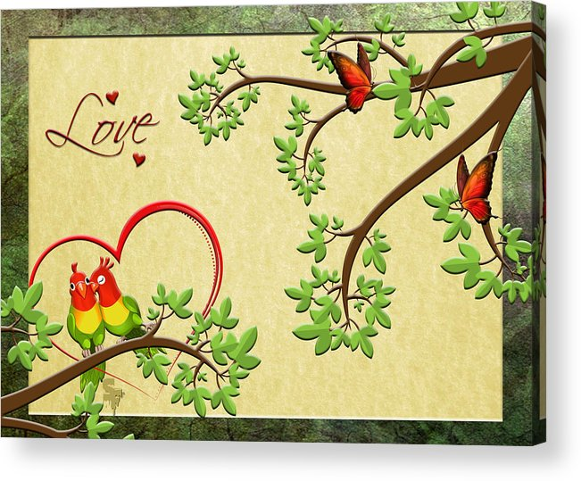 Acrylic Print featuring the digital art Valentine's Cards 8 by Sonia Ferentinou