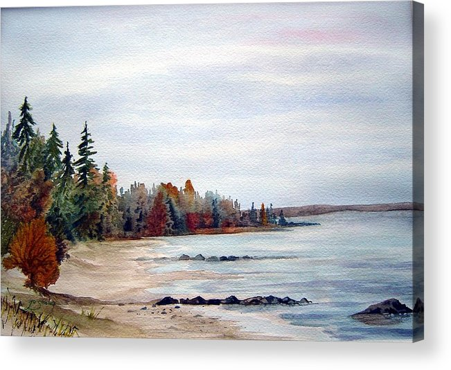 Victoria Beach Manitoba Shoreline Acrylic Print featuring the painting Victoria Beach In Manitoba by Joanne Smoley