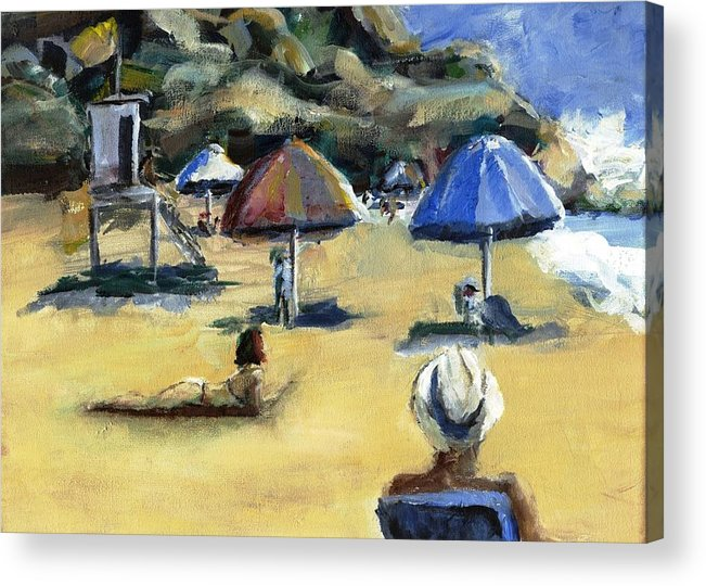 Umbrella Acrylic Print featuring the painting Victoria Beach White Hat by Randy Sprout