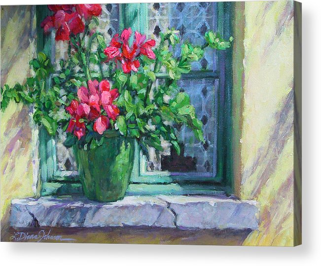 Red Geranium Acrylic Print featuring the painting Village Welcome Giverny France by L Diane Johnson