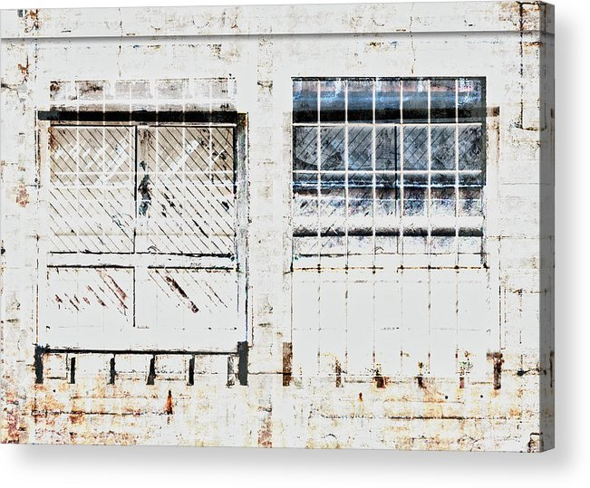 Warehouse Acrylic Print featuring the mixed media Warehouse Doors And Windows by Carol Leigh
