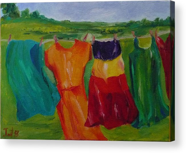 Wash Clothes Dance Acrylic Print featuring the painting Wash Dance by Irit Bourla