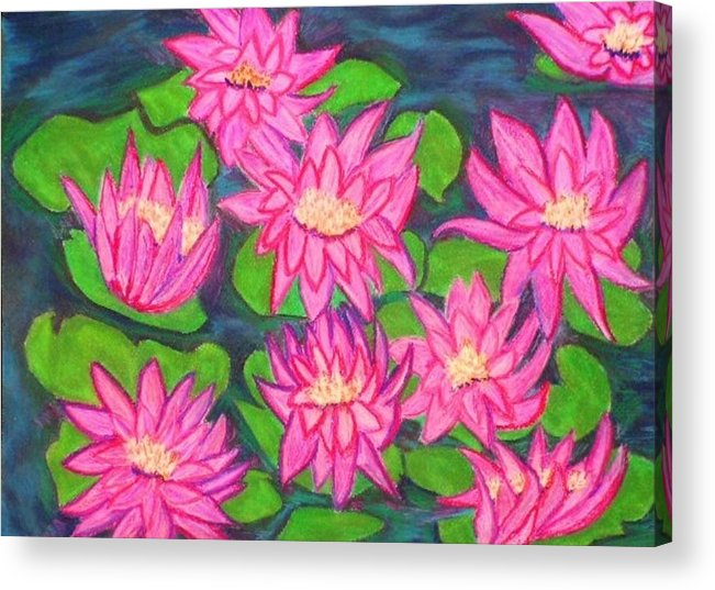 Landscape Acrylic Print featuring the drawing Water Lillies by Katina Cote