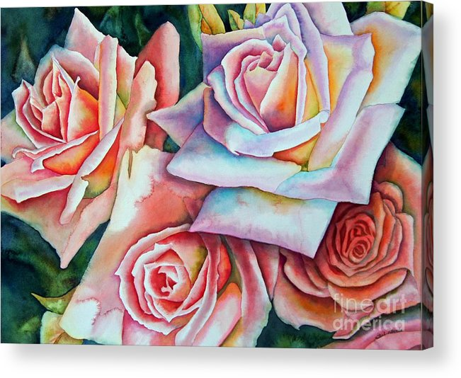 Floral Acrylic Print featuring the painting Wedding Roses by Gail Zavala