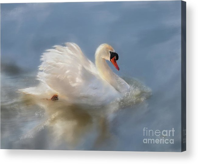 Swan Acrylic Print featuring the digital art Wild Beauty Painted by Lois Bryan
