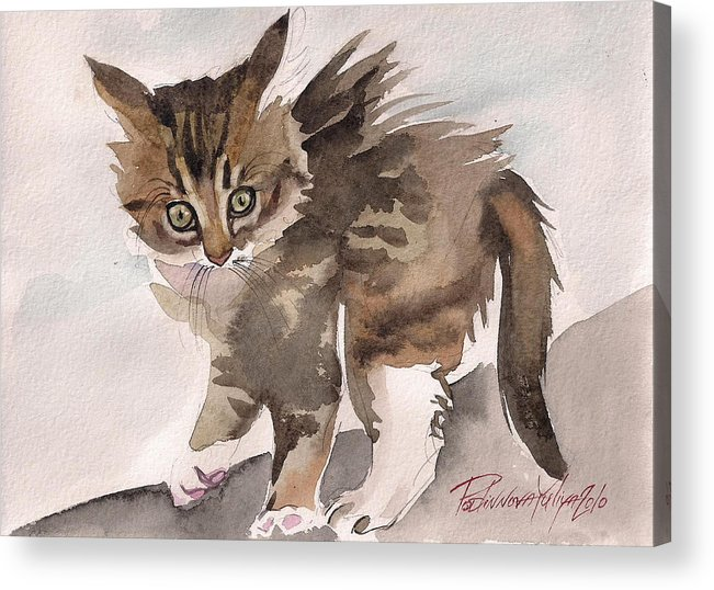 Cat Kitty Kitten Sweet Wild Gray Tabby Watercolor Paper Acrylic Print featuring the painting Wild Thing by Yuliya Podlinnova