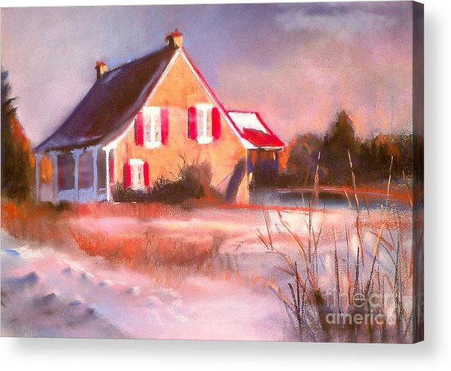 Snow Acrylic Print featuring the pastel Windy Cold Sunny Day by Louise Lavallee