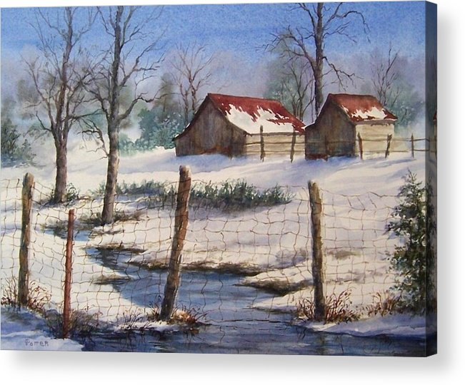 Winter Landscape Acrylic Print featuring the painting Winter Out Buildings by Virginia Potter