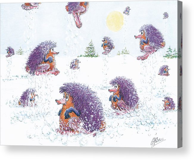 Creatures Acrylic Print featuring the drawing Woolly Snow Hoppers by Charles Cater