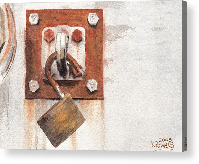 Rust Acrylic Print featuring the painting Work Trailer Lock Number Two by Ken Powers