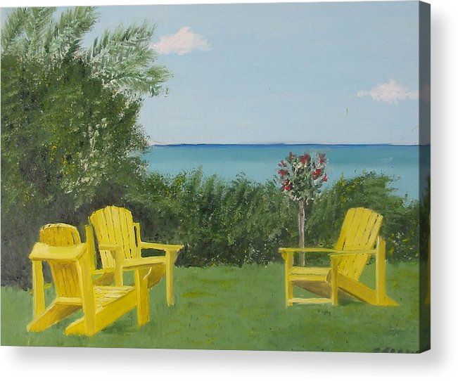Seascape Acrylic Print featuring the painting Yellow Chairs At Blue Mountain Beach by John Terry