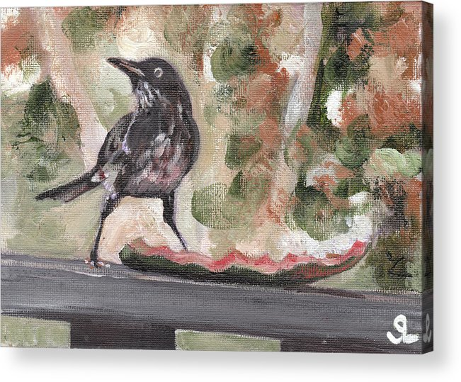 Puerto Rico Acrylic Print featuring the painting Yellow Eyed Bird by Sarah Lynch