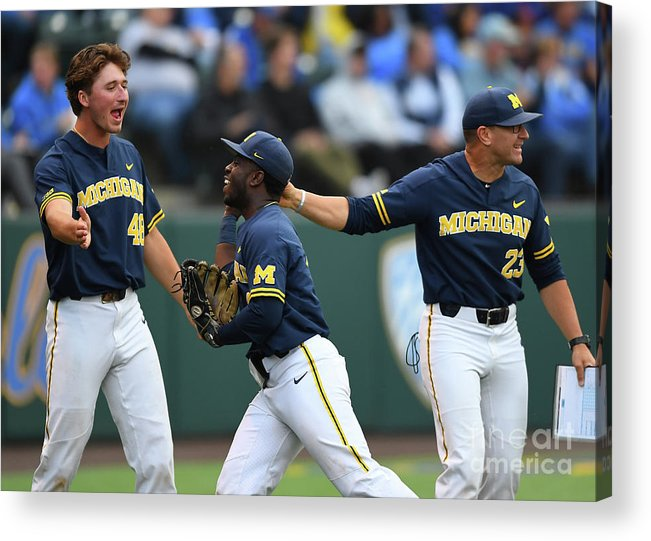 Three Quarter Length Acrylic Print featuring the photograph Michigan V Ucla - Game One by Jayne Kamin-oncea