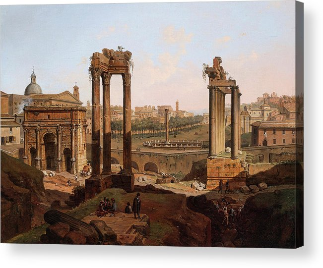 View Acrylic Print featuring the painting A View Of The Forum Romanum by Jean Victor Louis Faure