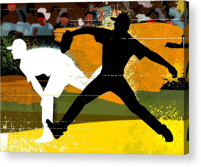 Baseball Cap Acrylic Print featuring the digital art Baseball Pitcher Throwing Baseball by Greg Paprocki