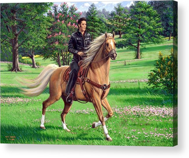 Elvis Presley Acrylic Print featuring the painting Elvis Riding A Palomino by Mike Roberts