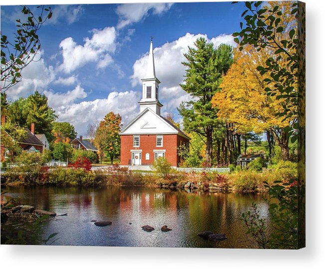 New Hampshire Acrylic Print featuring the photograph Harrisville, New Hampshire Church by Harriet Feagin